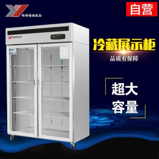 杭州银都全钢铜管大二门展示柜立式冷藏柜水果蔬菜保鲜柜双开门展示柜